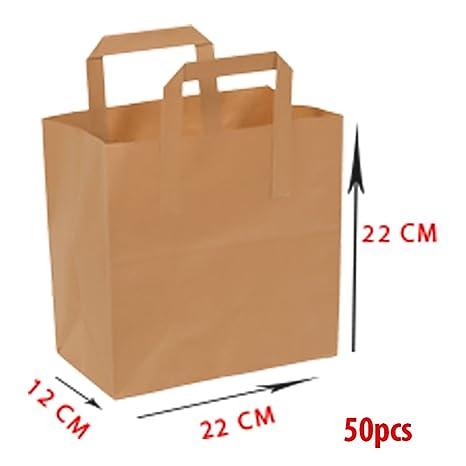 Bolsa de papel – Asa plana – 22 x 12 x 22 – 70 g – 50 piezas – Papel de estraza marrón – no impreso –100 reciclable