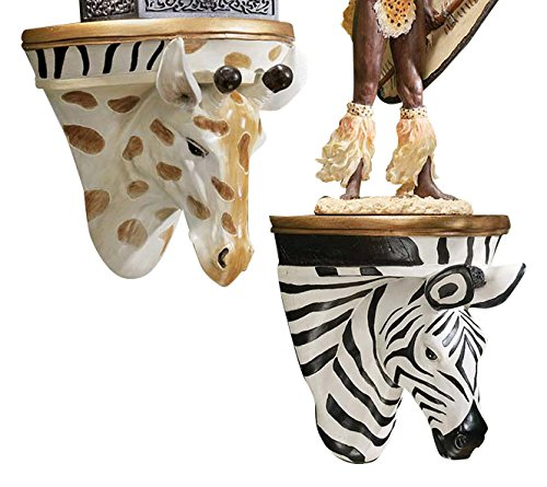 Design Toscano African Giraffe and Zebra Shelf Sculptures, Set of Two