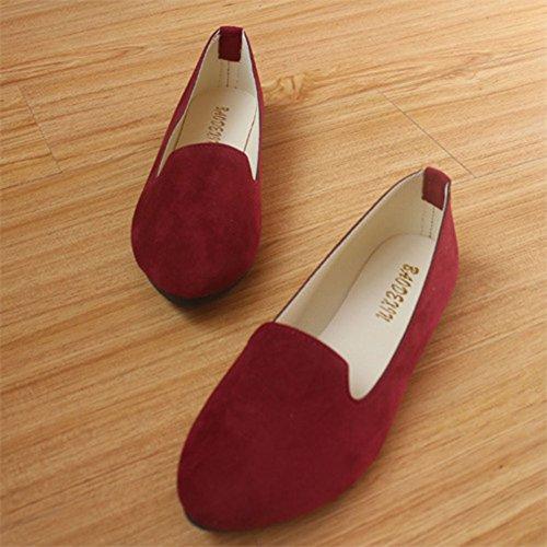Vino Básicas Chic y Color Rojo Moda del Bailarinas Piel Sintética Primo Mujer Elegante PxBwCqp5a0