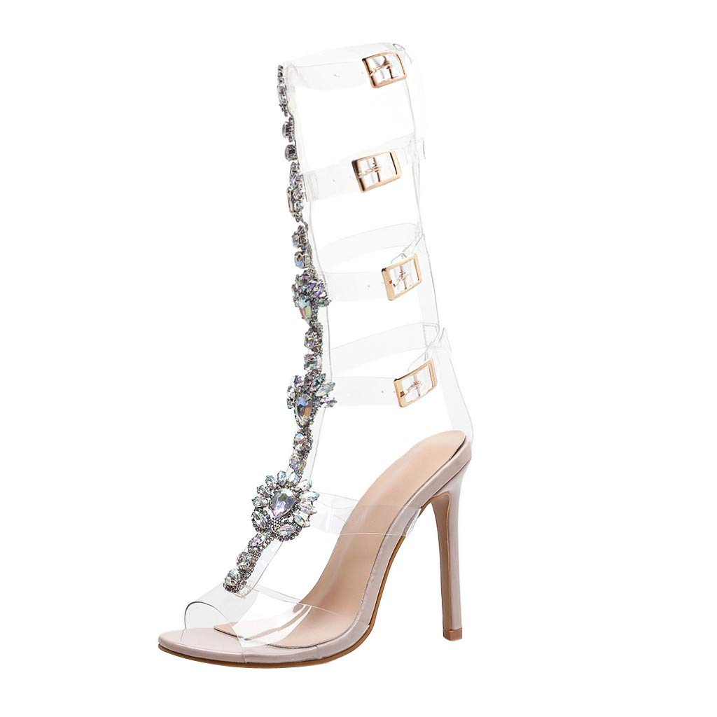 Transparent Rhinestones Ankle Buckle Straps Open Toe High Heel Casual Dress Beach Prom Party Sandals for Women (41, Khaki)