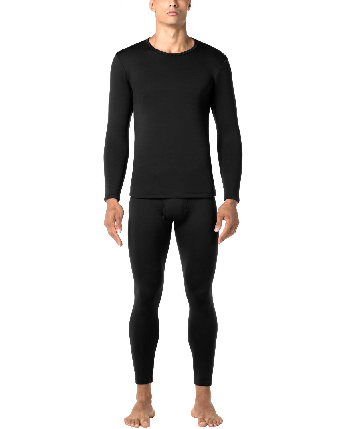LAPASA Men's Heavyweight Thermal Underwear Long John Set Fleece Lined Base Layer Top and Bottom M24 Black by LAPASA