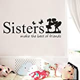 SMILEQ Lovely Quote Wall Sticker Sisters Make The Best OF Friends PVC Decal Home Decor DIY Art (A)