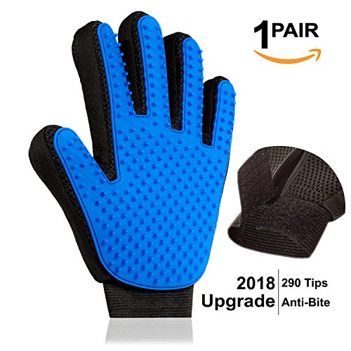 WeCare Pet Grooming Glove: New 2018 Design Pet Shedding Mitt with 290 Silicone Tips|Dog, Cat & Horse Hair Remover Glove|Soft Pet Groomer Massager Mitt for Short & Long Hair Pets|Top Pet Grooming Tool