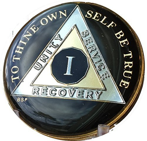 (1 Year Classic Black AA Alcoholics Anonymous Medallion Sobriety Chip Tri Plate Gold & Nickel Plated Serenity Prayer)