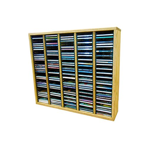 Cdracks Media Furniture Solid Oak Tower for CD Capacity 200 CD's Honey Finish (Individual Locking Slots) (Rack 200 Dvd Storage)