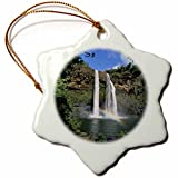 3dRose orn_89696_1 Wailua Falls, Wailua, Kauai, Hawaii, USA US12 DPB1228 Douglas Peebles Snowflake Porcelain Ornament, 3-Inch