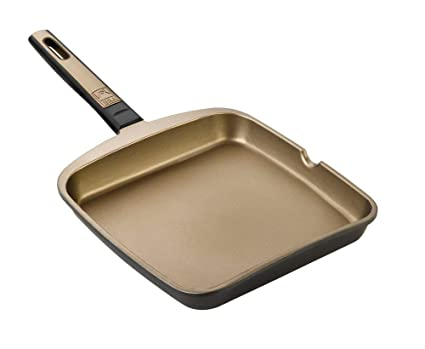BRA Terra - Sartén Grill asador Liso, 22 cm, Aluminio Fundido con Antiadherente Teflon