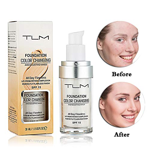 TLM Flawless Colour Changing Liquid Foundation, Warm Skin Tone Concealer Cover Face Makeup Base Nude Oil Control Moisturizing Long-lasting Suitable for Light, Fair and Medium Skin