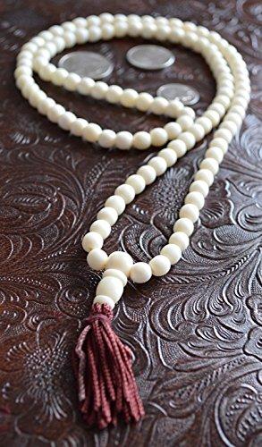 Beads Bone Shaped (108 Bone mala beads PRAYER JAPA MANTRA TANTRA MALA NECKLACE-BLESSED & ENERGIZED TOP QUALITY (108+1) 7-8 MM HINDU BUDDHIST PRAYER KARMA YAKBONE BEADS SUBHA ROSARY MALA FOR NIRVANA, BHAKTI, FOR REMOVING INNER DOSHAS, FOR TANTARIC SIDHI, FOR CHANTING AUM OM, FOR AWAKENING CHAKRAS, KUNDALINI THROUGH YOGA MEDITATION-FREE OM MALA POUCH INCLUDED)