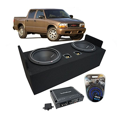 "Fits 1982-2004 GMC Sonoma Extended Cab Truck Rockford Punch P1S412 Dual 12"" Sub Box Enclosure & R500X1D Amp"