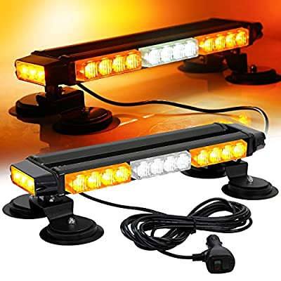 ASPL 16.8 Inch LED Strobe Flashing Light Bar, 26 Flashing Modes High Intensity Emergency Hazard Warning Beacon Lights with Magnetic Base for Car Trucks Trailer Roof Safety (Amber White Amber): Automotive
