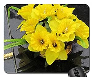 Yellow Magic Mouse Pad, Mousepad (Flowers Mouse Pad, 10.2 x 8.3 x 0.12 inches)