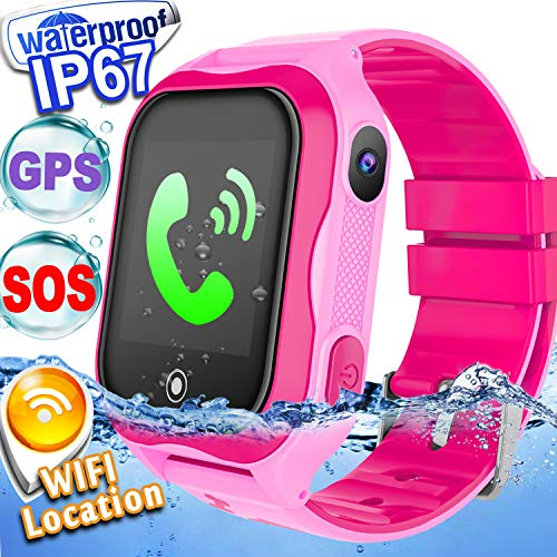 Kid Smart Watch Phone GPS Tracker WiFi Locator IP68 Waterproof Safety Smartwatch Holiday Birthday Gifts for 3-14 Year Girl Boy Game Smart WristWatch 2 Way Call SOS Camera Anti-Lost Gizmo Learning Toys