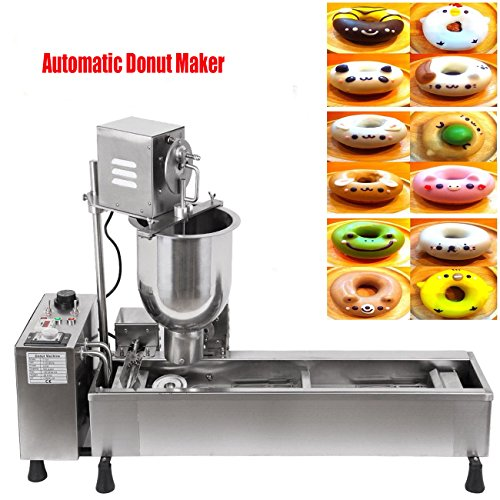 Ridgeyard Stainless Steel Commercial Donut Maker 3KW Automatic Donut Maker 7L Donut Making Machine with 3 Sets Mold ,Wide Oil Tank by Ridgeyard