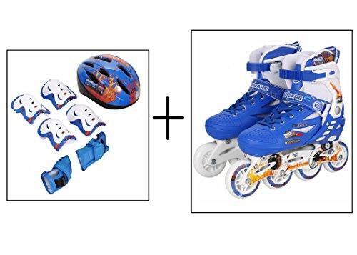 Leoneva Adjustable Inline Skates Set for Kids/Boys/Girls, Including Helmet/Elbow Pads/Knee Pads/Hand Bands (US Stock,2 Sizes,Blue/Pink) (Blue, US Size 2-4) (Master Roller Sponge)