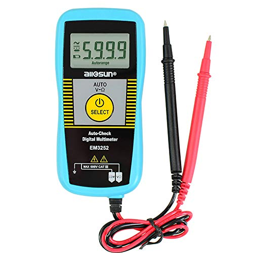 Allsun Auto Check Digital Multimeter Non-Contact AC Voltage Detection DMM 5999 Counts LCD Screen Waterproof Lightweight and Accurate with Ohm Volt Capacitance Diode inductance Voltage Functions