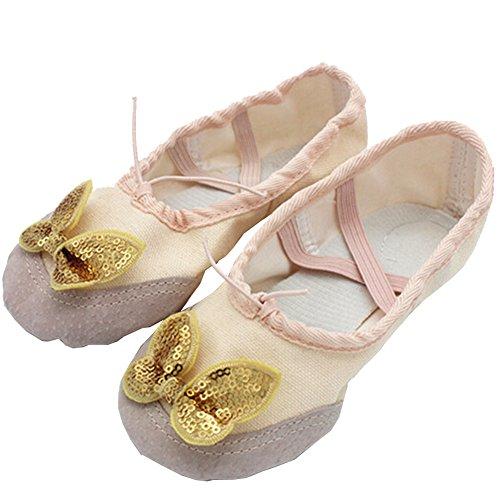 Lisianthus002 - Zapatillas de danza de Lona para niña Rosa - beige