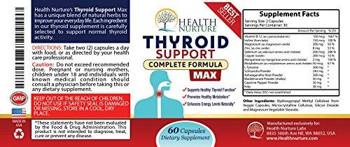HEALTH NURTURE THYROID SUPPORT MAXIMUM STRENGTH- Best Thyroid Support - Promotes Healthy Energy, Metabolism, Mental Clarity & Focus : Vitamin B12 Complex, Zinc, Selenium, Ashwagandha, Copper, Coleus F by Health Nurture (Image #4)