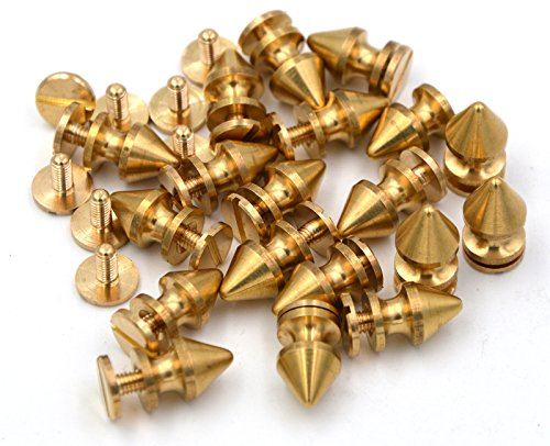 Okones Pack of 20,Solid Brass Tree Spike Studs and Spikes Metalic Screw Rivets Nails Button for Leathercraft Punk DIY (1/3''×1/2''tall Spikes)