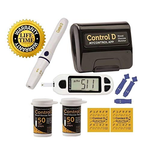 CONTROL D Blood Glucose Monitor Diabetes Management Kit -1 Meter, 1 Lancing Device, 100 Lancets,100 Alcohol Swabs, 100 Test Strips, Carrying Case/Life TIME Warranty
