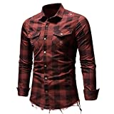 OWMEOT Men's Slim Fit Long Sleeves Casual Fashion Shirts (Red, L)