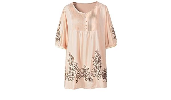lanmo Mujeres bordado Campesino Tops Verano Dressy Camisa: Amazon.es: Ropa y accesorios