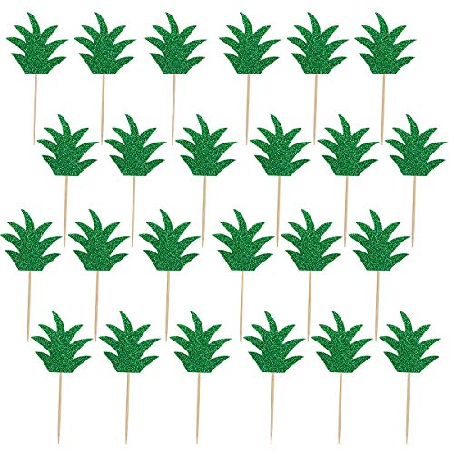 24Pcs Green Glittery Pineapple Leaves Cupcake Toppers- Hawaii Luau Tropical Summer Theme Party Decorations ()
