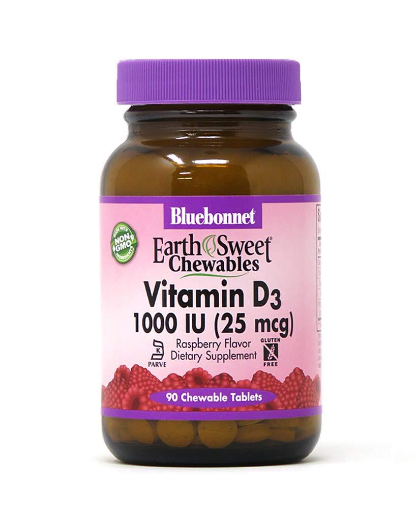 BlueBonnet Nutrition Earth Sweet Vitamin D3 1000 IU Chewable Tablets, Raspberry, 90 Count