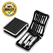 Manicure Set Nail Clippers Pedicure Kit -16 in 1 Stainless Steel Manicure Set, Portable Nail Scissors Grooming Kit…