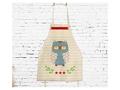 Gelaiken Perfect Cotton Linen Cartoon Owl Printed Letter Apron Hanging Neck Animal Sleeveless Unisex Apron by Gelaiken (Image #3)