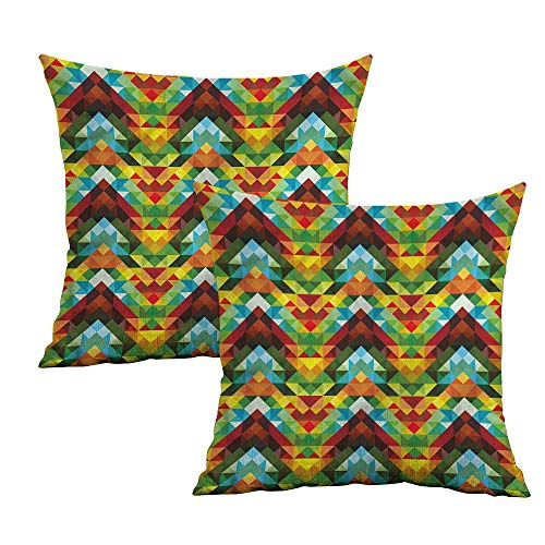 (Khaki home Colorful Square Throw Pillow Covers Abstract Optic Pattern Square Kids Pillowcase Cushion Cases Pillowcases for Sofa Bedroom Car W 16