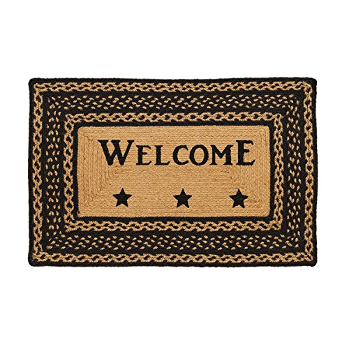 Tan Star - VHC Brands Classic Country Primitive Flooring - Farmhouse Jute Black Stenciled Welcome Rug, 1'8