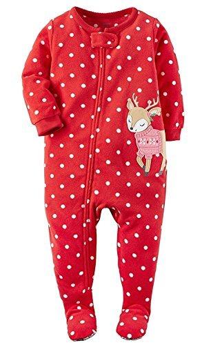 Reindeer Fleece - Carter's Baby Girls' 1-Piece Footed Fleece Pajamas Pj's Polka Dot Reindeer 12M
