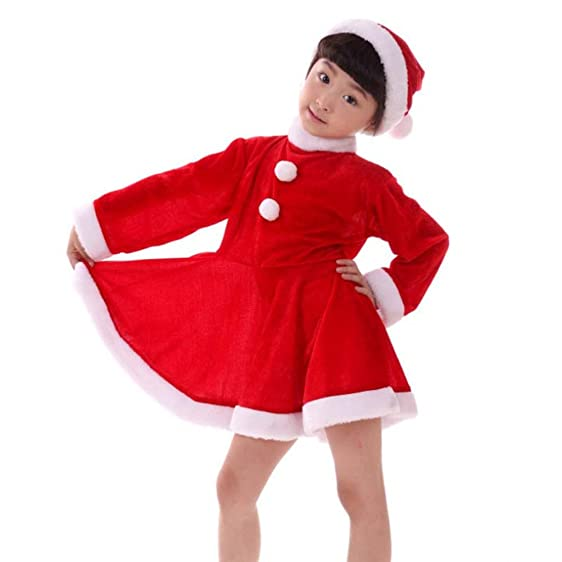 YOURWIGS Christmas Santa Costume for Child Girls Red Velvet Dress with Santa Hat and Belt B028A  sc 1 st  Amazon.com & Amazon.com: YOURWIGS Christmas Santa Costume for Child Girls Red ...