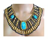 Egyptian Hand Made Multi Beaded Scarab Beetle Beads Cleopatra Nefertiti Queen Style 9.5'' Necklace Collar Choker Pendant Christmas Halloween Ancient Egypt Pharaoh Costume Accessory Jewelry Belly Dance