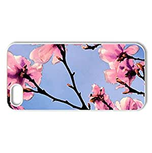Pink Blossoms - Case Cover for iPhone 5 and 5S (Flowers Series, Watercolor style, White)
