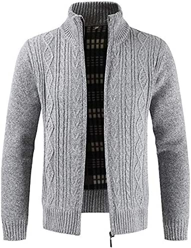 JJK Mens Knitted Cardigan, Thick Sweater Full Zip Wool Stand Collar Cardigans Coat Fleece Lined Long Sleeve Cardigan,Silver,M