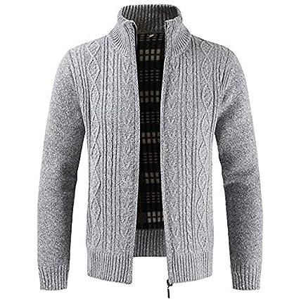 online store 36bb5 bd61e JJK Mens Maglia Cardigan, Maglione di Spessore Full Zip Lana ...