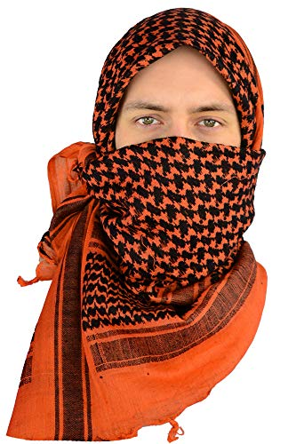 Mato & Hash Military Shemagh Tactical 100% Cotton Scarf Head Wrap - Rustic Orange/Black -