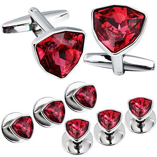 HAWSON Swarovski Crystal Cufflinks and Studs Set for Men - 2 Pcs Cufflinks with 6 Pieces Studs in Gift Box (red)
