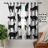 petpany Bathroom Curtains Cat,Black Cat Silhouettes in Different Poses Domestic Pets Kitty Paws Tail and Whiskers, Black White,Room Darkening Waterproof Curtains for Bathroom 42'x45'