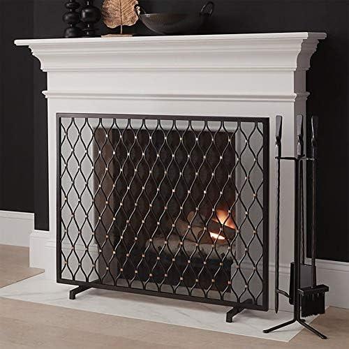 暖炉 スクリーン 錬鉄メッシュ暖炉スクリーン、ブラックSmallフラットガードスパークフレイムガードカバー、赤ちゃんの安全証明暖炉フェンス、98x78cm