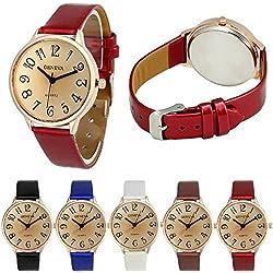 Geneva Women Big Dial Leather Brand Bracelet Wrist Watch Wholesales 6 Pcs Fiiliip(Mixed Color)