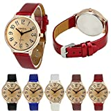 womens big dial watches - Geneva Women Big Dial Leather Brand Bracelet Wrist Watch Wholesales 6 Pcs Fiiliip(Mixed Color)