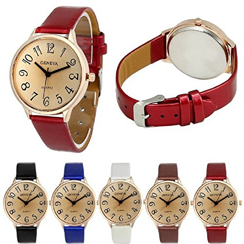 Geneva Women Big Dial Leather Brand Bracelet Wrist Watch Wholesales 6 Pcs Fiiliip(Mixed Color) - Ladies Petite Quartz Watch