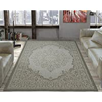 Ottomanson Jardin Collection Oriental Indoor/Outdoor Jute Backing Area Rug X, 53 x 73, Light Grey