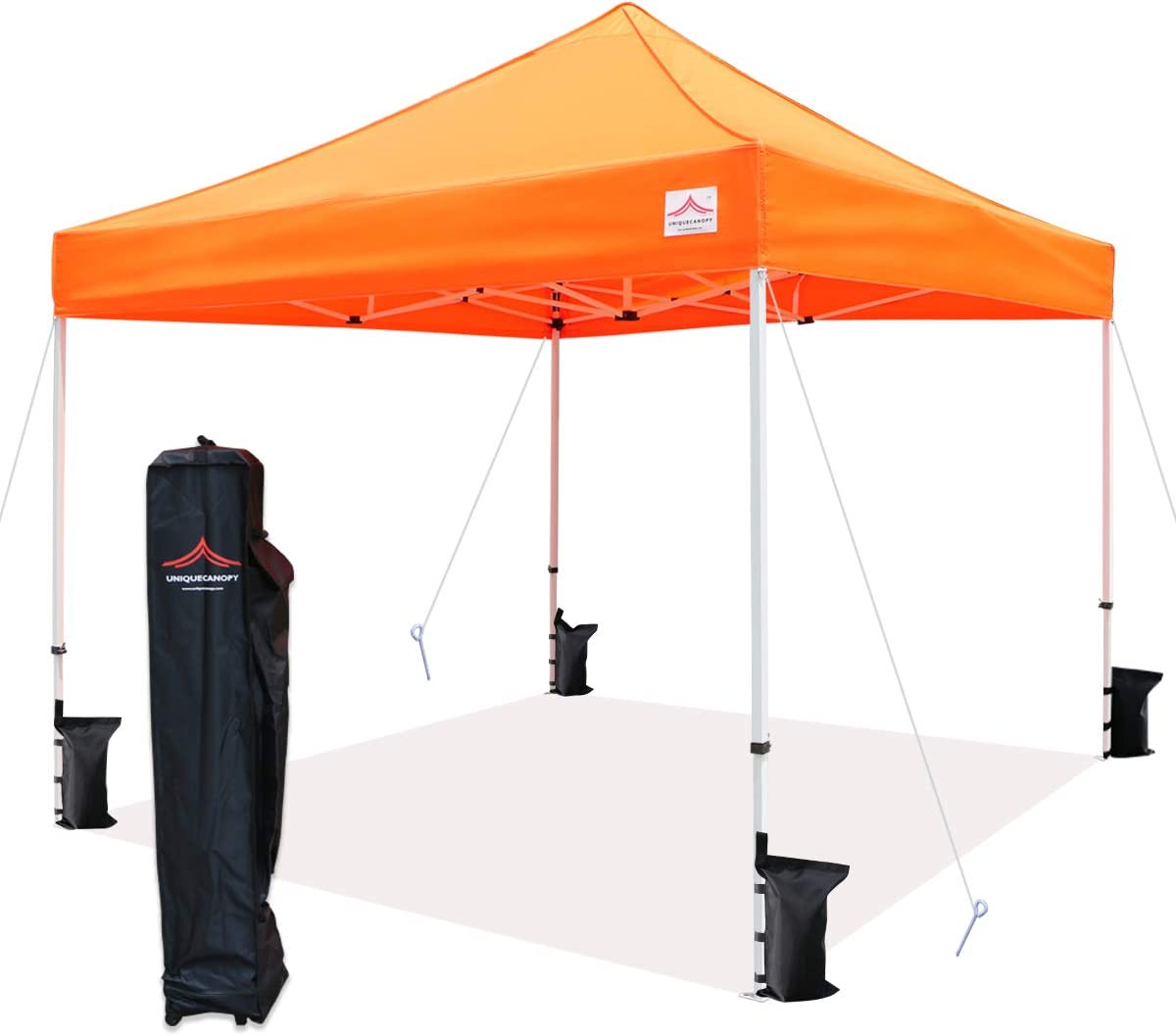 UNIQUECANOPY 10'x10' Ez Pop Up Canopy Tent Commercial Instant Shelter with Heavy Duty Roller Bag, 4 Canopy Sand Bags, 10x10 FT Orange