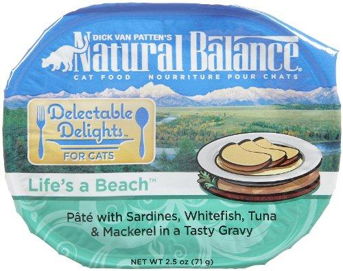 Natural Balance Pet Food Delectable Delights Life's a Beach Cat Pate Formula Sardines Whitefish Tuna and Mackerel — 2.5 oz, My Pet Supplies