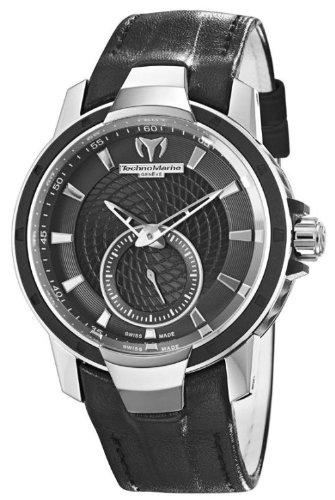 TechnoMarine Women's 609021 UF6 3-Hand Black Bezel Black Leather Watch
