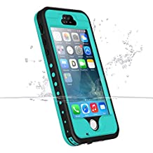 iPhone 5 5s se Waterproof Case, iThrough Underwater, Dust Proof, Snow Proof, Shock Proof Case with Screen Protector, Heavy Duty Protective Carrying Cover Case with AUX Cable for iPhone 5/5s(Aqua Blue)